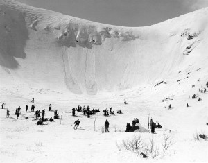 The first Giant Slalom race in the US, April 4, 1937 in Tuckerman Ravine