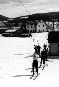 An early overhead cable ski tow at Jackson, NH