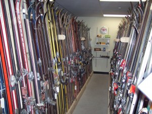 Skis in the Thad Thorne Ski Room