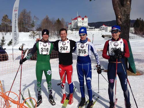 The top four marathon finishers of the 2015 Bretton Woods Nordic Marathon.