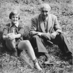 Hannes Schneider and his goddaughter, Bettina Hoerlin, September 1951
