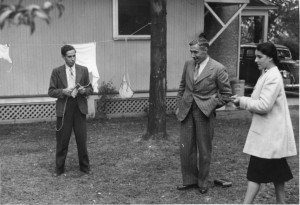 Hannes and Herbert Schneider with Kate Hoerlin, playing darts in New Hampshire, ca. 1940
