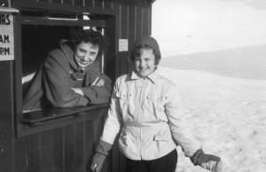 Bettina and Herta Schneider at Mount Cranmore, ca. winter 1952