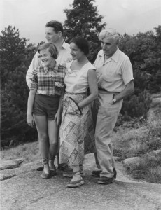 Kate and Herman Hoerlin, Hannes and author (Bettina Hoerlin) atop Mount Cranmore, September 1951