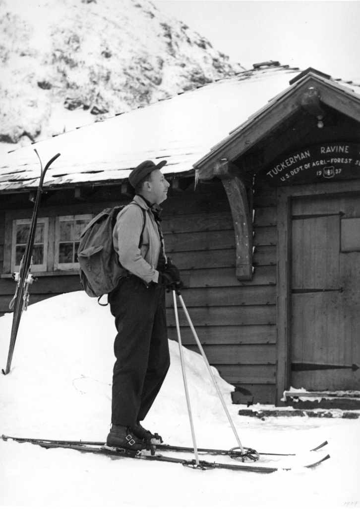 Carl Shumway in Tuckerman Ravine in 1937, nearly a quarter century after the first documented ascent of Mount Washington on skis.
