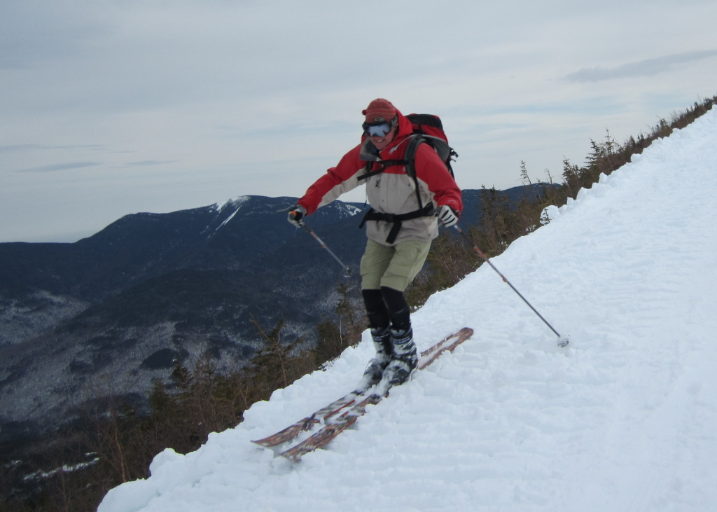 Bo Adams on the descent of the 5-mile grade, where his grandfather Shumway skied roped to his companions a century ago.