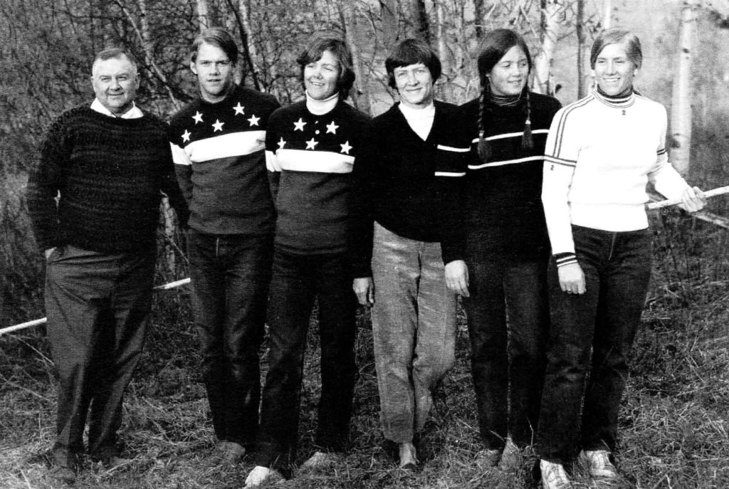 The Cochran Family in 1972. Left to right: Mickey, Bob, Marilyn, Ginny, Lindy, and Barbara Ann. Photo by Peter Miller.