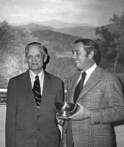 Sherman Adams of Loon Mountain, left, with Cal Conniff, then executive director of the National Ski Areas Association about 1975.