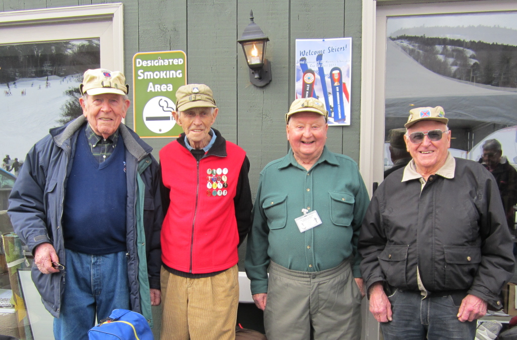 Among the World War II veterans of the 10th Mountain Division at the 2013 event were, from left to right, John Barton of Bristol, RI, Nelson Bennett of Yakima, WA, Donald Linscott of Dracut, MA, and Bernie Peters of North Conway, NH.