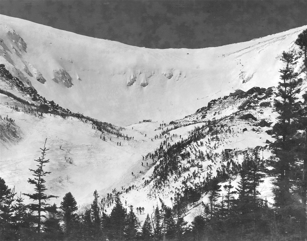 Tuckerman Ravine on April 16, 1939. The Inferno racers skied the Lip, in the center right of the photo. Victor Beaudoin photo.