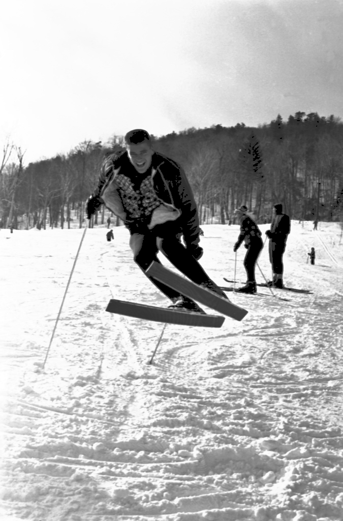 Preston Smith skiing on barrel staves about 1961. Bob Perry photo.