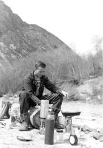 Cal Conniff camping by the side of the road to Alta, Utah on a ski trip in the 1950s.