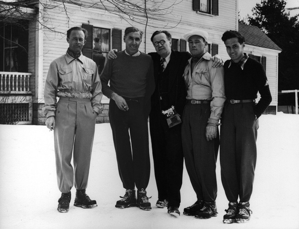 Benno Rybizka, Hannes Schneider, Arnold Lunn, Toni Matt and Herbert Schneider gather in 1940 at the Grove Street home of the Schneiders.